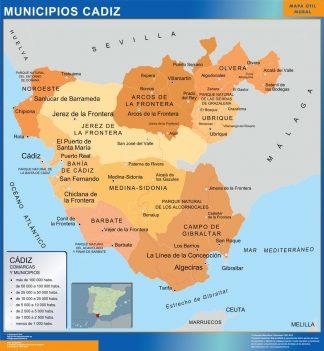 Cartina Jerez De La Frontera.Municipalities Cadiz Wall Map From Spain Wall Maps Of The World